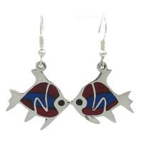 Silver Inlaid Fish Earrings - Artisana