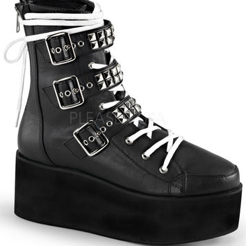 Demonia Black Platform White Lace Up Boots