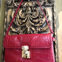 Designer Donna Karan RED Croc embossed Leather Clutch DKNY Hand Bag