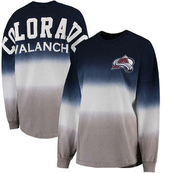 Women's Colorado Avalanche Fanatics Branded Navy/Gray Ombre Spirit Jersey Long Sleeve Oversized T-Shirt