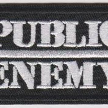 Public Enemy Iron-On Patch White Letters Logo