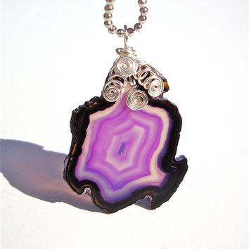 Purple agate slice necklace with wire wrapped bail by Sparkle City Jewelry