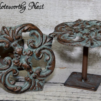Curtain Tiebacks Patina  /iron drapery tieback // drapery pullback // curtain pull back // verdigris tie back // Purse Hook // Scarf Hook