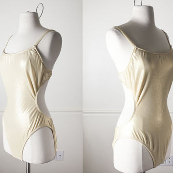 Vintage 80s Cut Out One Piece Swimsuit | Metallic Gold Swimsuit 80s Swimsuit Pin Up Bathing Suit Retro Swimsuit Sexy Bikini Midriff Mod Boho