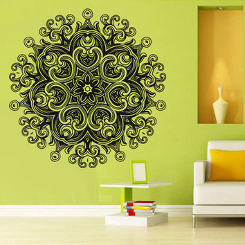 Wall Decal Vinyl  Mural Sticker Art Decor Bedroom Yoga Kitchen Ceiling Mandala Menhdi Flower Pattern Ornament Om Indian Hindu Buddha (z2885)