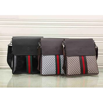 Gucci Trending Women Men Casual Red Blue Stripe Letter Print Leather Crossbody Satchel Shoulder Bag Briefcase(3-Color) I-KSPJ-BBDL