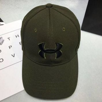 CREYV9O Under armour Women Men Contracted Sport Sunhat Logo Embroidery Baseball Cap Hat Army Green G