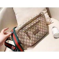 Gucci fashion casual men and women print broadband stripe hot selling cross Fanny pack