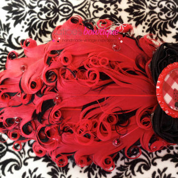 Ladybug Headband- Great Gatsby Flapper Girl Red and Black Bow Nagorie Feathers Embellished Swarovski Crystals Chiffon Birthday Headband