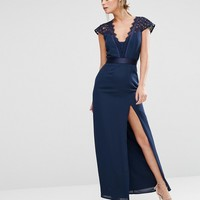 Elise Ryan Scallop Lace Maxi Dress With Thigh Split
