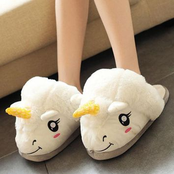 DCCKHY9 2016 New Winter Warm Slippers Women Men Casual Home Indoor Cute Cartoon Plush Unicorn Shoes For Grown Ups Unisex Pantufas