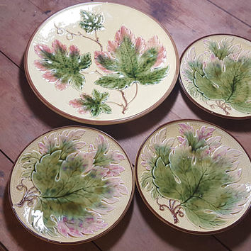 Vintage German Germany Majolica Plates Set of 4 Dessert set Cake Plate Green Pink Yellow Early 1900s