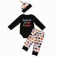 Newborn Baby Boys Girls Clothes Set 3PCS Long Sleeve Bodysuit+Halloween Pumpkin Pants+Hat Outfits Halloween Pumpkin Clothing