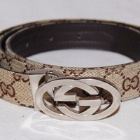 mens beige GUCCI leather and canvas double GG belt 40""
