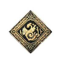 Damascene Brooch Pin, 18K Gold Foil Inlay Of Asian Dragon Design
