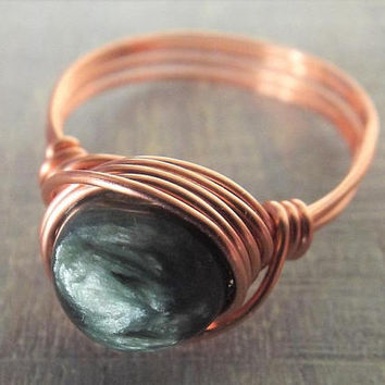Seraphinite Ring, Copper Wire Ring, Angel Wing Ring, Wire Wrapped Ring, Green Stone Ring, Get Well Gift, Unique Stone Ring, Dark Green Ring