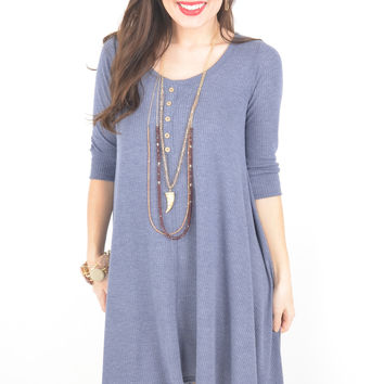 Faded Blue Thermal Dress with High-Low Hem and 3/4 Sleeves