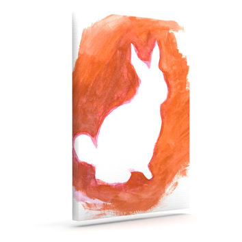 "Theresa Giolzetti ""Orange You A Bunny"" Abstract Paint Outdoor Canvas Wall Art"