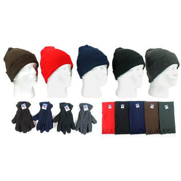 Winter Knit Hats, Men's Fleece Gloves & Scarves