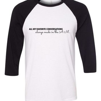 "One Direction ""All My Favorite Conversations Always Made in the A.M."" Baseball Tee"
