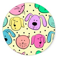 Cute Colorful Pet Pattern Round Sticker