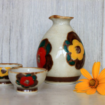 vintage hand painted sake set // 'rice wine' flask and 2 bowls // pottery