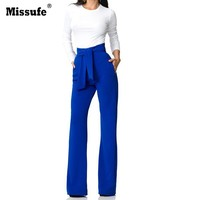 Missufe Women Autumn Wide Leg Pants High Waist Zipper Trousers With Belt Slim Bottoms For Daily And Bussiness Office Ladies