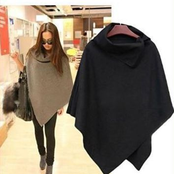 Turtleneck Irregular Cloak Coat