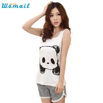 Womail The most 2015 Han New Fashion Cute Cartoon Vest Summer Pajamas Lady Casual Sleeveless Female Leisure Wear Suits