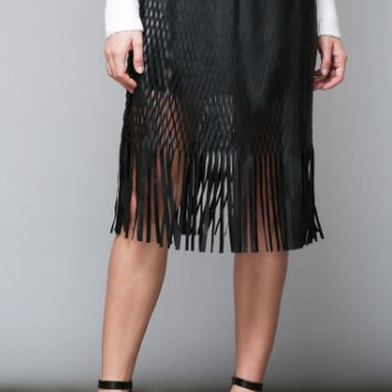 Women's Fringed Faux Leather Midi Skirt