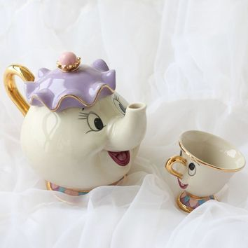 New Beauty and The Beast Tea Set Teapot Mrs Potts Pot Chip Mug Cup One Set Nice Friend Gift Free Shipping