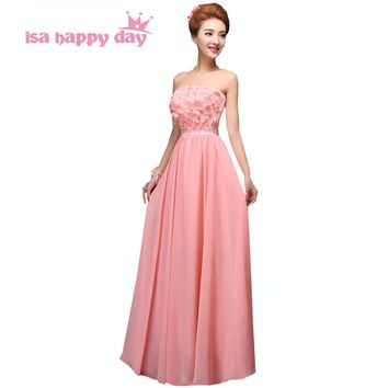 size 2 occasion simple long summer strapless bride maid dress woman formal classy chiffon bridesmaid dresses for weddings H1880