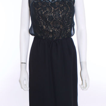 Tailor Made Couture Vintage Black Lace Sheer Illusion Cocktail Dress Size 8
