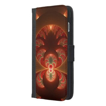 Luminous abstract modern orange red Fractal iPhone 6/6s Plus Wallet Case