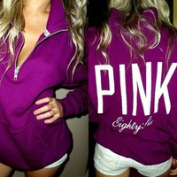 GPKG5 PINK Victoria's Secret Pattern Letter Print Zipper V-Neck Hoodie Top Blouse Sweatshirt Pullover Sweater