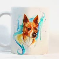 Dog coffee mug, Dog mug Watercolor Mug, Coffee Cup, Tea Cup, Gift for her, Gift for him, Printed mug, Ceramic mug