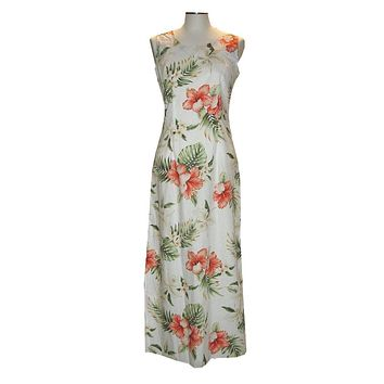 Ky's White 100% Cotton Womens Tank Aloha Dress with White Orchids and Red Hibiscus