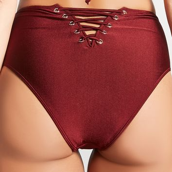 Lace-Up Back Bikini Bottoms