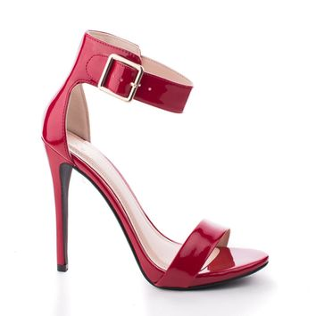Canter Red Patent By Delicious, Delicious Women's Single Sole Ankle Strap High Heels