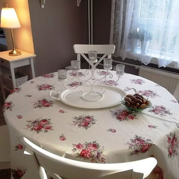 """Pink Roses Tablecloth -Duck fabric -Turkish Decor - Shabby Chic-Cotton - W intage -Christmas Tablecloth- Home Decor 74"""" x 74"""""""