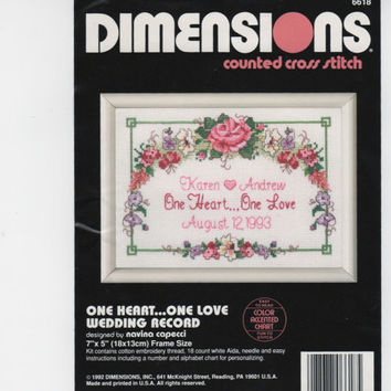 One Heart One Love Wedding Record, Dimensions Counted Cross Stitch Embroidery Kit