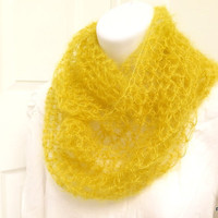 Silk mohair cowl, yellow crochet infinity scarf, soft cozy neck warmer