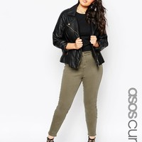 ASOS Curve | ASOS CURVE Lisbon Midrise Ankle Grazer Jeans in Sage Green at ASOS