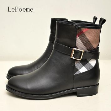 Buckle Chelsea Boots 2017 Autumn Winter Fashion Genuine Leather Martin Ankle Boots Wom