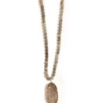 Skylar Druzy Long Necklace