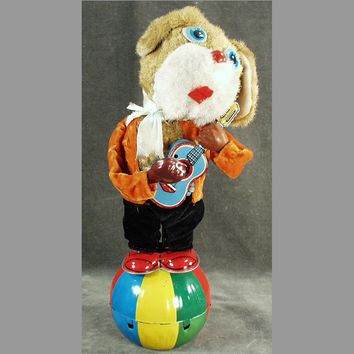 Vintage Wind-up Toy - Plush Dog Playing Musical Guitar