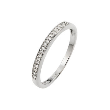 .925 Sterling Silver Rhodium Plated Small Round Cubic Zirconia Band Ring: Size:5