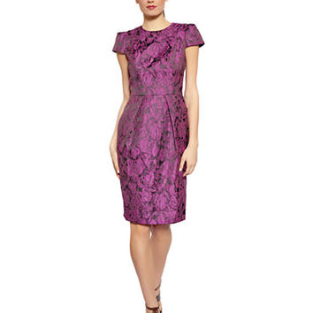 Carmen Marc Valvo Floral Embroidered Pleated Dress