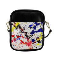 Blue & Red Paint Splatter Sling Bag (Model 1627) | ID: D276633
