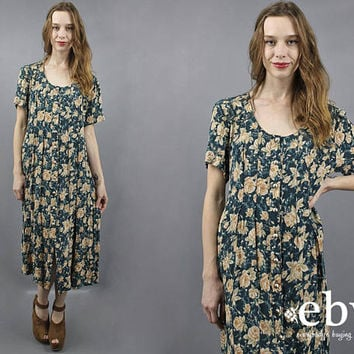 Floral Midi Dress 90s Midi Dress 90s Dress Floral Dress Soft Grunge Dress 1990s Dress Green Floral Dress 90s Grunge Dress Roses Dress L XL